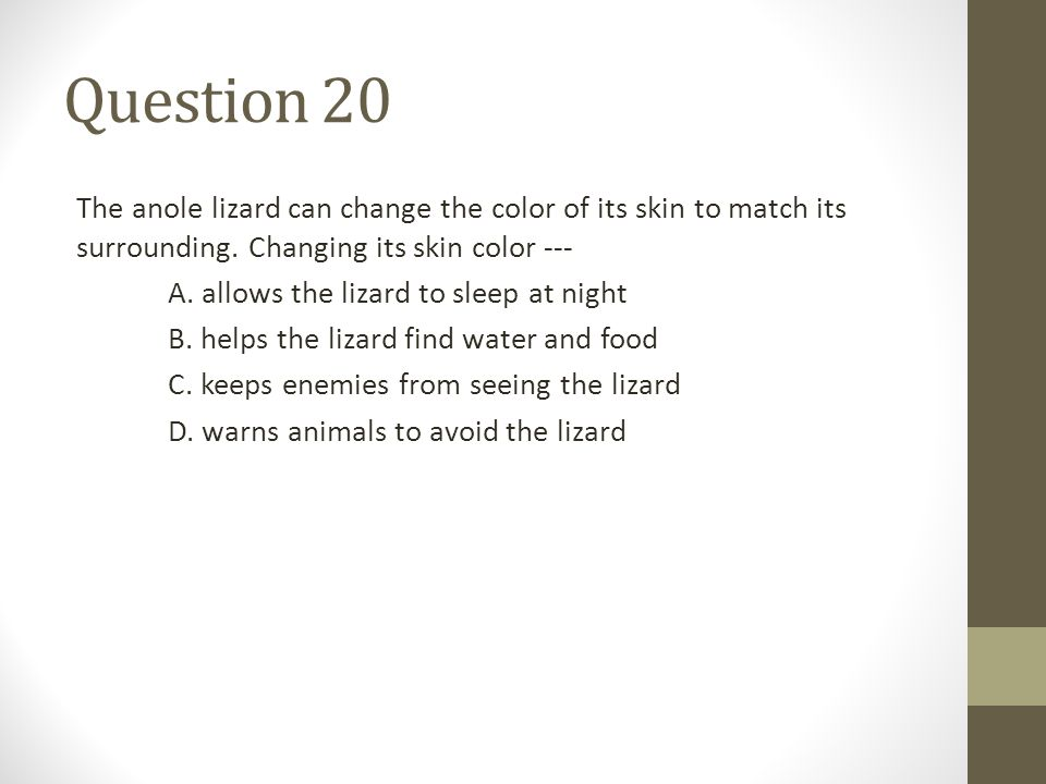 Question 20 The anole lizard can change the color of its skin to match its surrounding.