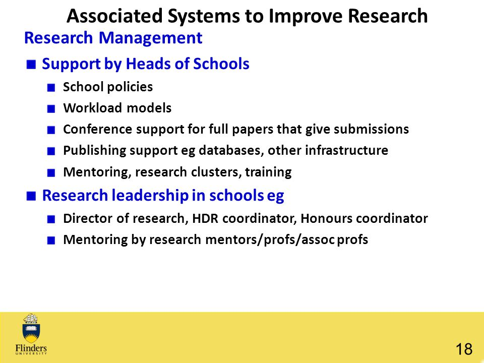 Associated Systems to Improve Research Research Management Support by Heads of Schools School policies Workload models Conference support for full pap