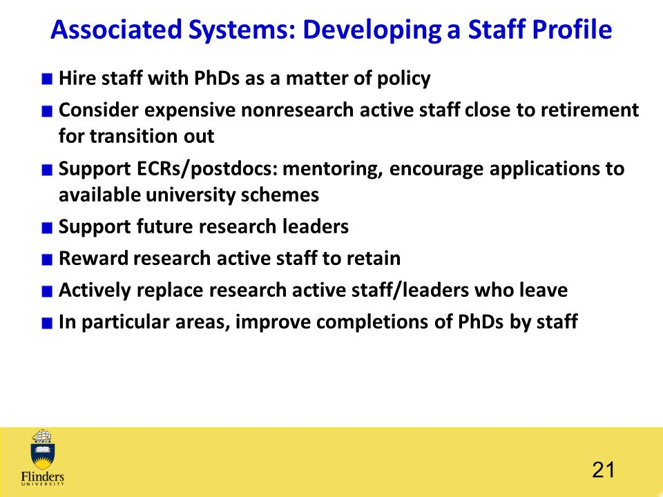 Associated Systems: Developing a Staff Profile Hire staff with PhDs as a matter of policy Consider expensive nonresearch active staff close to retirem