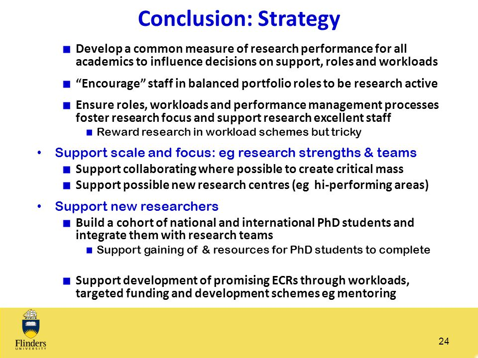 "Conclusion: Strategy Develop a common measure of research performance for all academics to influence decisions on support, roles and workloads ""Encour"
