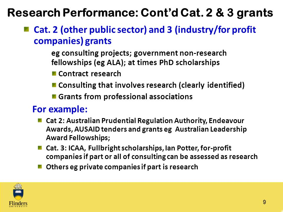 Research Performance: Cont'd Cat. 2 & 3 grants Cat. 2 (other public sector) and 3 (industry/for profit companies) grants eg consulting projects; gover