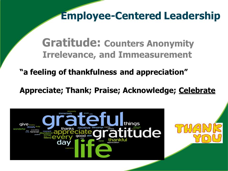"""a feeling of thankfulness and appreciation"" Appreciate; Thank; Praise; Acknowledge; Celebrate Gratitude: Counters Anonymity Irrelevance, and Immeasur"