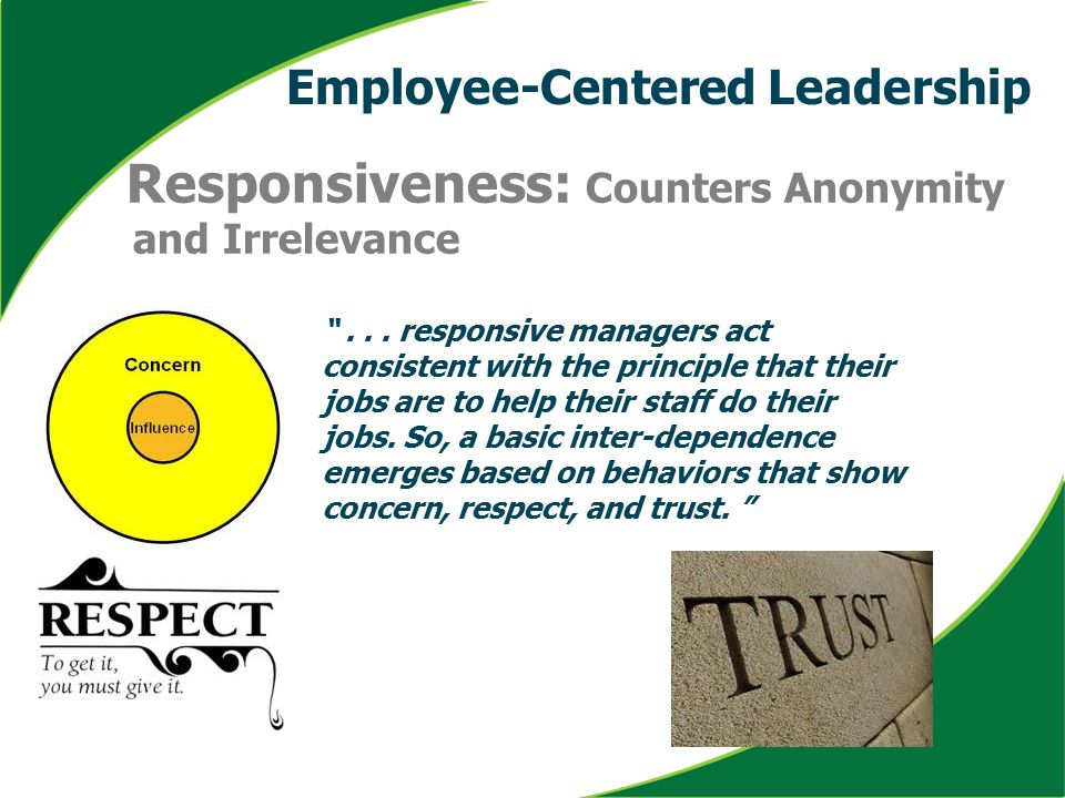 "Responsiveness: Counters Anonymity and Irrelevance ""... responsive managers act consistent with the principle that their jobs are to help their staff"