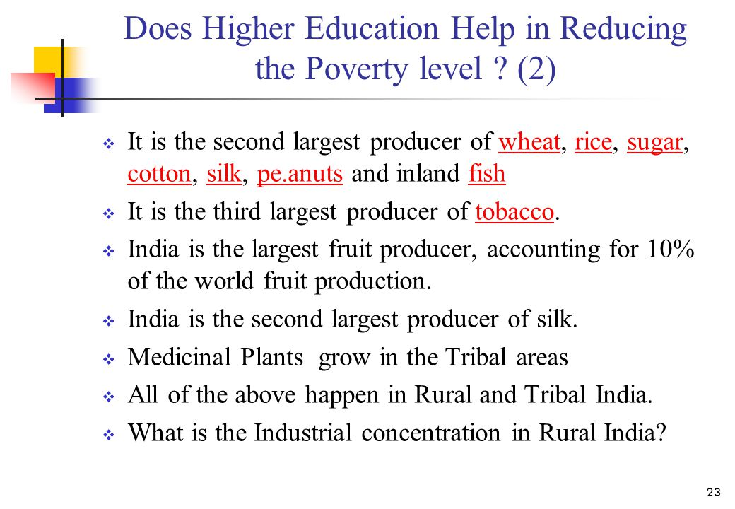 Does Higher Education Help in Reducing the Poverty level ? (2)  It is the second largest producer of wheat, rice, sugar, cotton, silk, pe.anuts and i