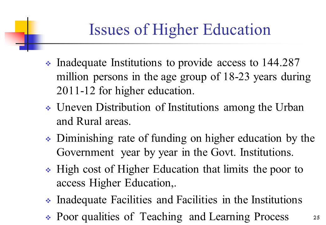 Issues of Higher Education  Inadequate Institutions to provide access to 144.287 million persons in the age group of 18-23 years during 2011-12 for h