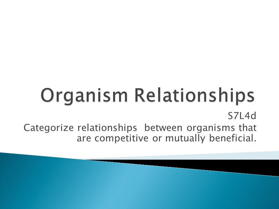 S7L4d Categorize relationships between organisms that are competitive or mutually beneficial.