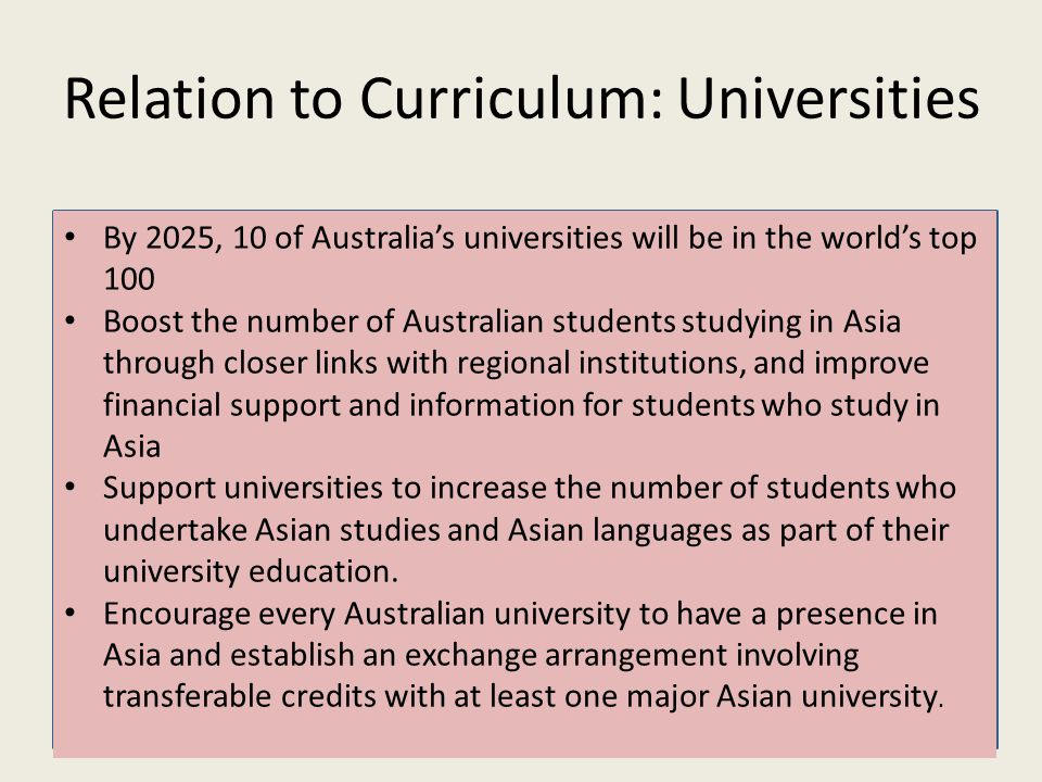 Relation to Curriculum: Universities By 2025, 10 of Australia's universities will be in the world's top 100 Boost the number of Australian students studying in Asia through closer links with regional institutions, and improve financial support and information for students who study in Asia Support universities to increase the number of students who undertake Asian studies and Asian languages as part of their university education.