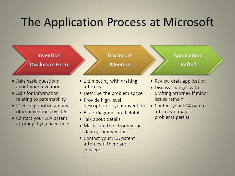 The Application Process at Microsoft Invention Disclosure Form Asks basic questions about your invention Asks for information relating to patentabilit