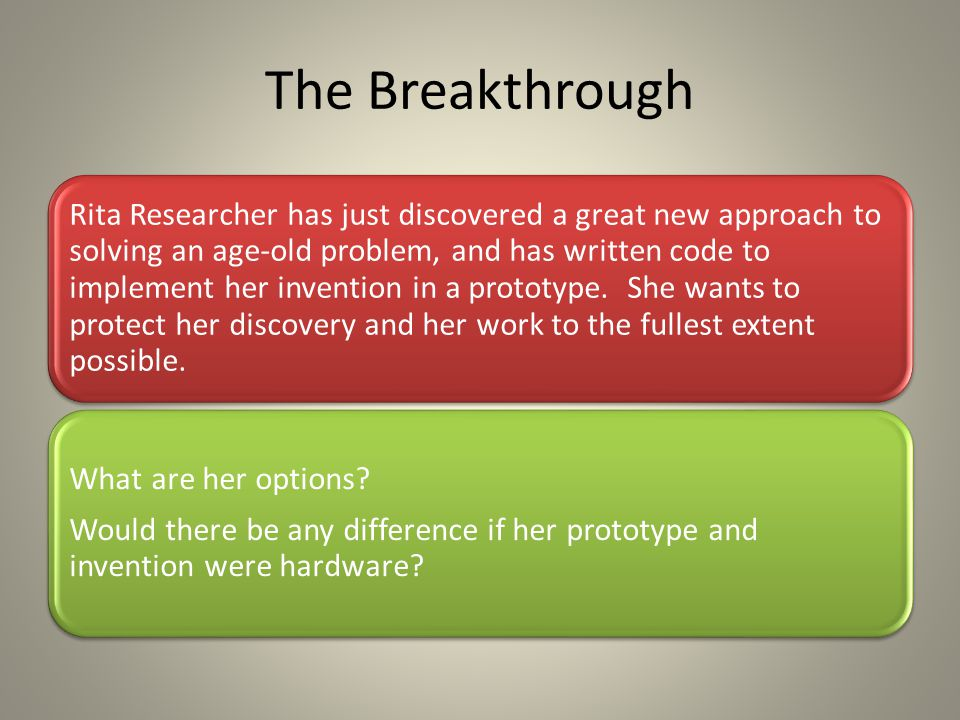 The Breakthrough Rita Researcher has just discovered a great new approach to solving an age-old problem, and has written code to implement her inventi