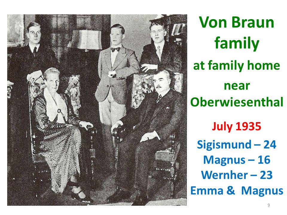 Von Braun family at family home near Oberwiesenthal July 1935 Sigismund – 24 Magnus – 16 Wernher – 23 Emma & Magnus 9