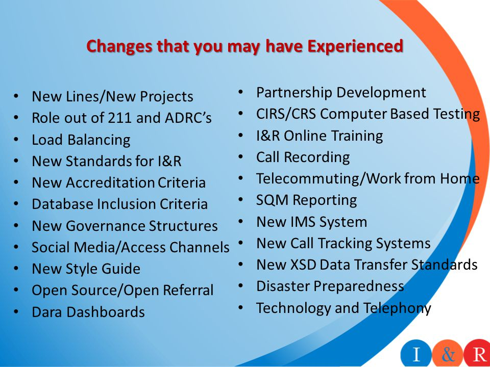 Changes that you may have Experienced New Lines/New Projects Role out of 211 and ADRC's Load Balancing New Standards for I&R New Accreditation Criteria Database Inclusion Criteria New Governance Structures Social Media/Access Channels New Style Guide Open Source/Open Referral Dara Dashboards Partnership Development CIRS/CRS Computer Based Testing I&R Online Training Call Recording Telecommuting/Work from Home SQM Reporting New IMS System New Call Tracking Systems New XSD Data Transfer Standards Disaster Preparedness Technology and Telephony