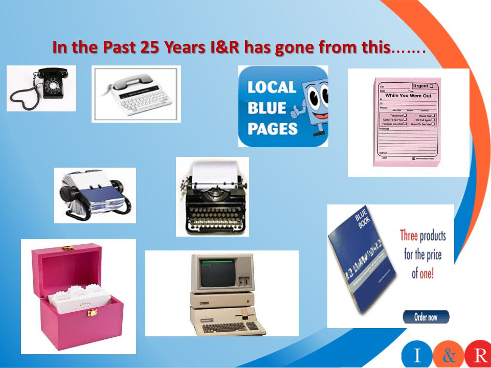 In the Past 25 Years I&R has gone from this In the Past 25 Years I&R has gone from this …….