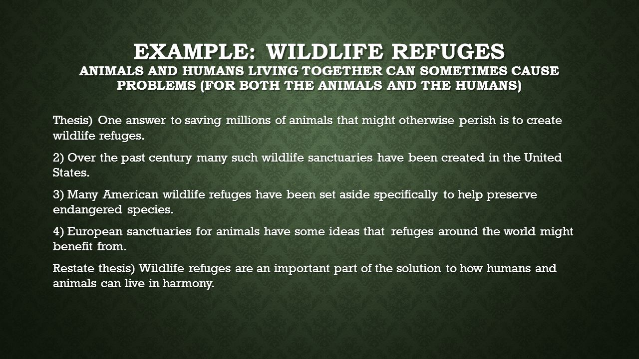 EXAMPLE: WILDLIFE REFUGES ANIMALS AND HUMANS LIVING TOGETHER CAN SOMETIMES CAUSE PROBLEMS (FOR BOTH THE ANIMALS AND THE HUMANS) Thesis) One answer to saving millions of animals that might otherwise perish is to create wildlife refuges.