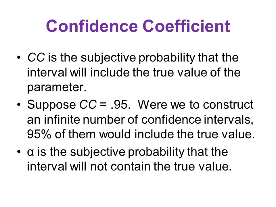 Confidence Coefficient CC is the subjective probability that the interval will include the true value of the parameter.