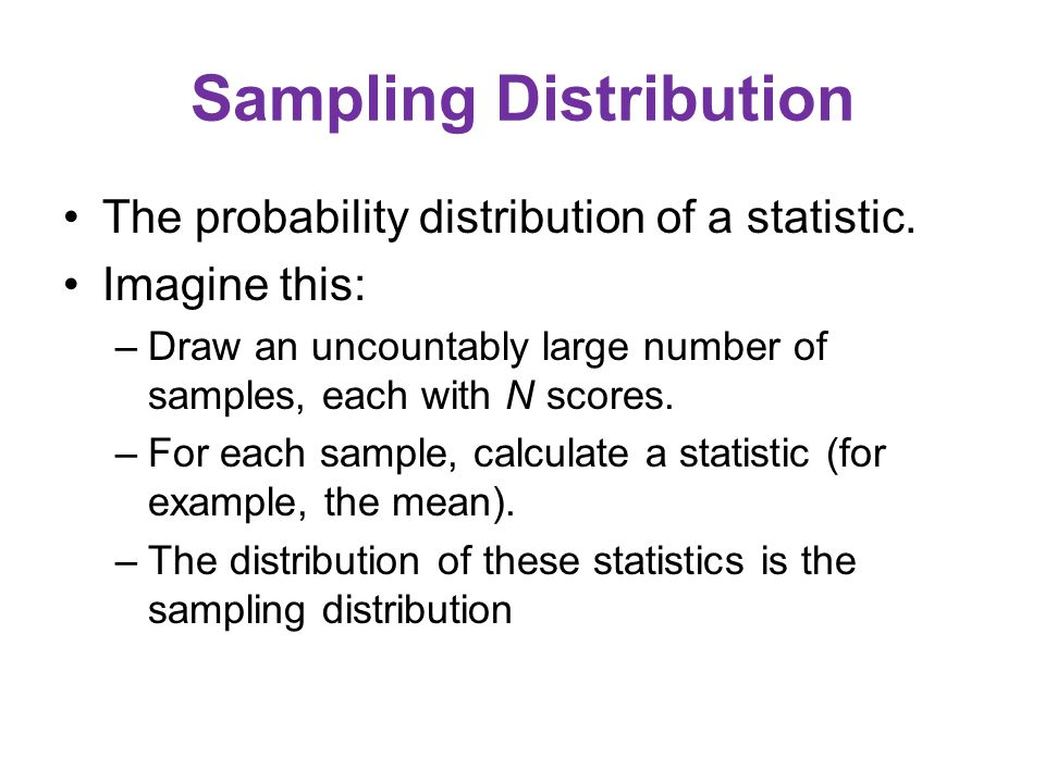 Sampling Distribution The probability distribution of a statistic.