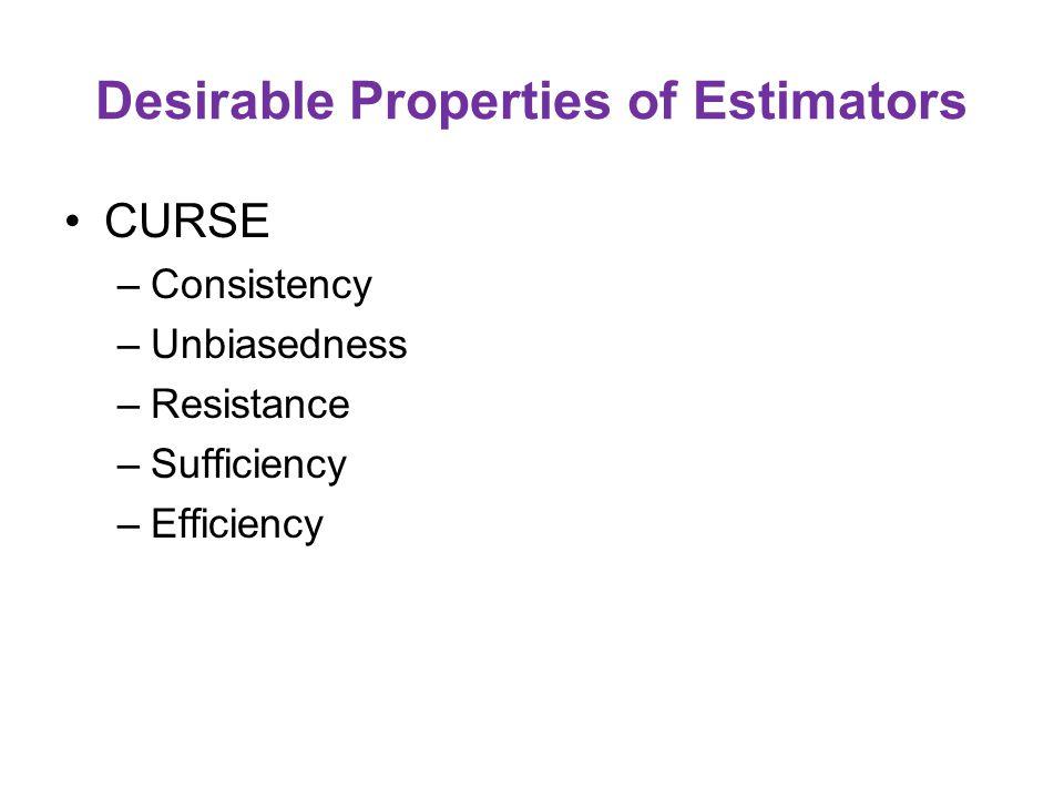 Desirable Properties of Estimators CURSE –Consistency –Unbiasedness –Resistance –Sufficiency –Efficiency