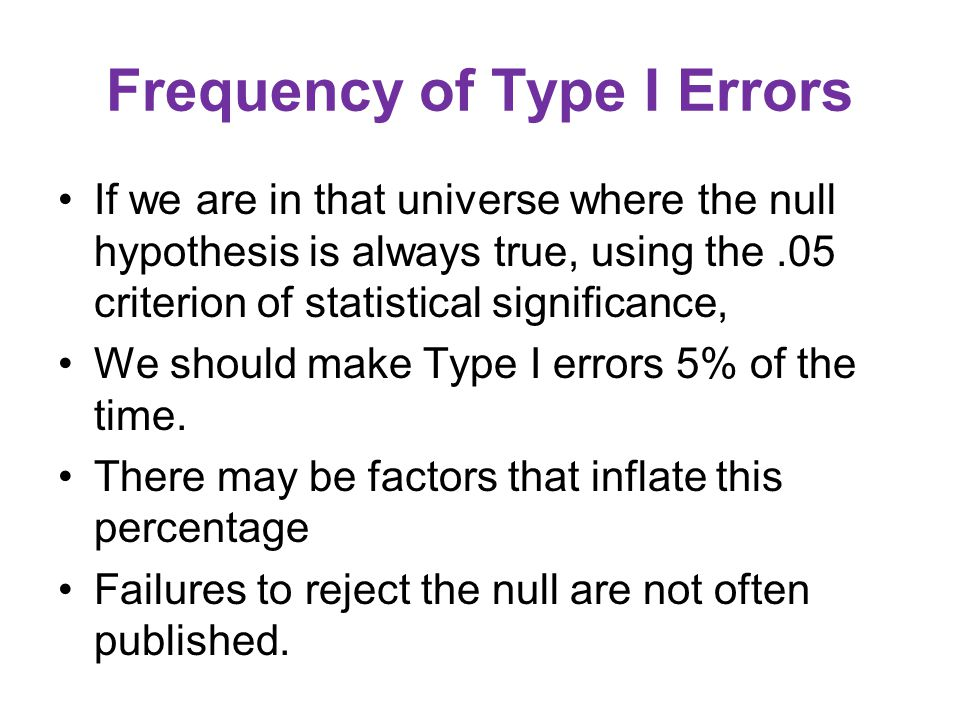 Frequency of Type I Errors If we are in that universe where the null hypothesis is always true, using the.05 criterion of statistical significance, We should make Type I errors 5% of the time.