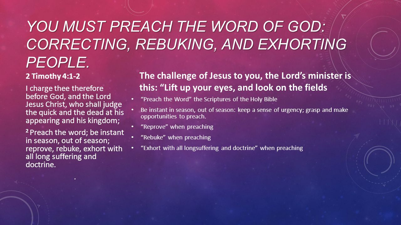 YOU MUST PREACH THE WORD OF GOD: CORRECTING, REBUKING, AND EXHORTING PEOPLE.