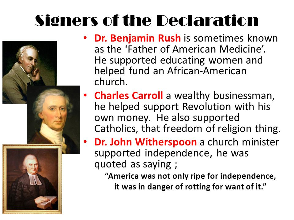 Signers of the Declaration Dr.