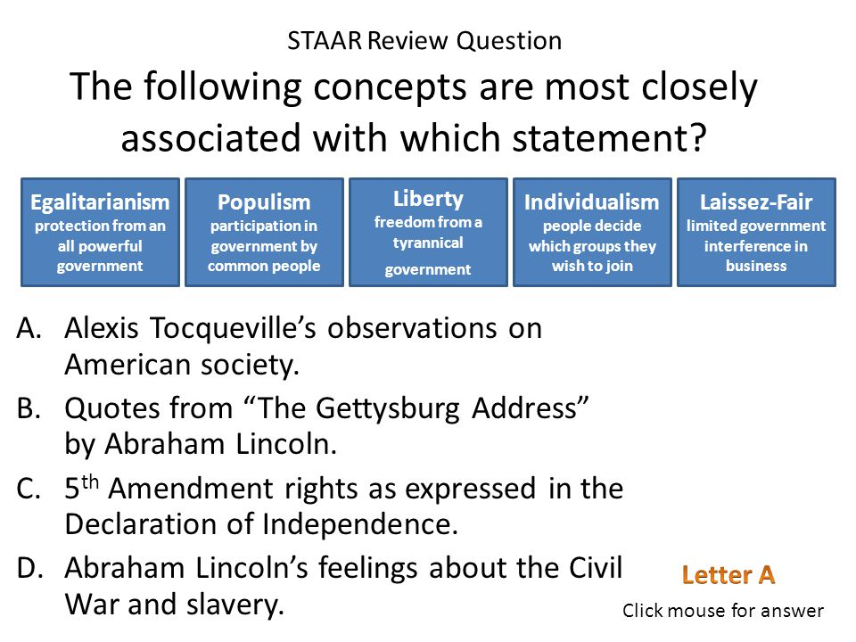 """The following concepts are most closely associated with which statement? A.Quotes from """"Democracy in America"""" by Alexis Tocqueville. B.1 st Amendment"""