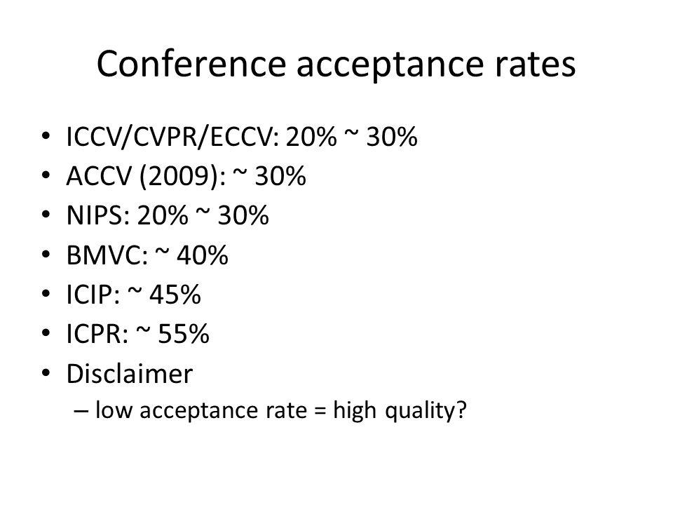 Conference acceptance rates ICCV/CVPR/ECCV: 20% ~ 30% ACCV (2009): ~ 30% NIPS: 20% ~ 30% BMVC: ~ 40% ICIP: ~ 45% ICPR: ~ 55% Disclaimer – low acceptan