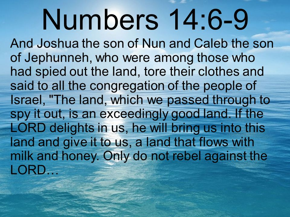 Numbers 14:6-9 And Joshua the son of Nun and Caleb the son of Jephunneh, who were among those who had spied out the land, tore their clothes and said to all the congregation of the people of Israel, The land, which we passed through to spy it out, is an exceedingly good land.