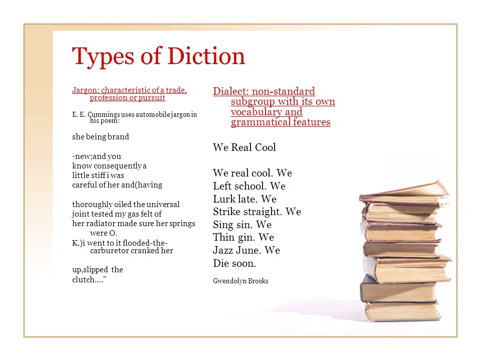 Types of Diction Jargon: characteristic of a trade, profession or pursuit E.