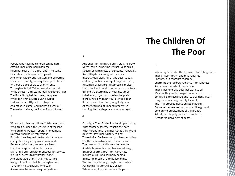  Sonnet 1- The differences between those with children and those without any.