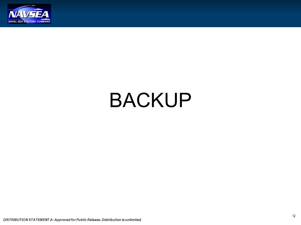 12 DISTRIBUTION STATEMENT A: Approved for Public Release. Distribution is unlimited. BACKUP
