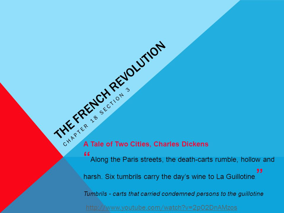 """THE FRENCH REVOLUTION CHAPTER 18 SECTION 3 A Tale of Two Cities, Charles Dickens """" Along the Paris streets, the death-carts rumble, hollow and harsh."""