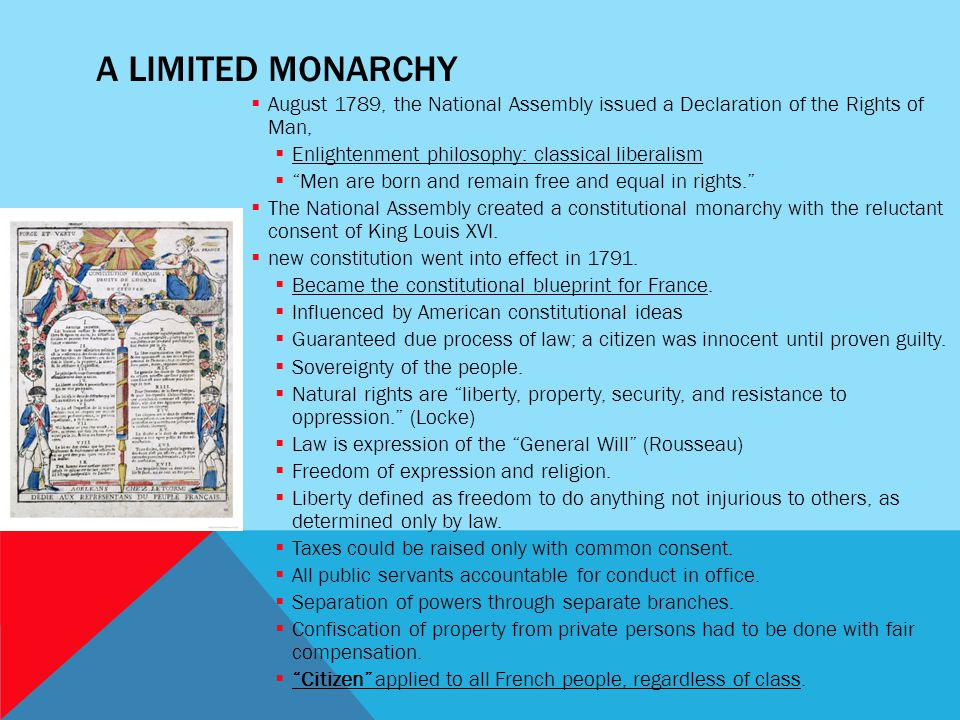 A LIMITED MONARCHY  August 1789, the National Assembly issued a Declaration of the Rights of Man,  Enlightenment philosophy: classical liberalism 