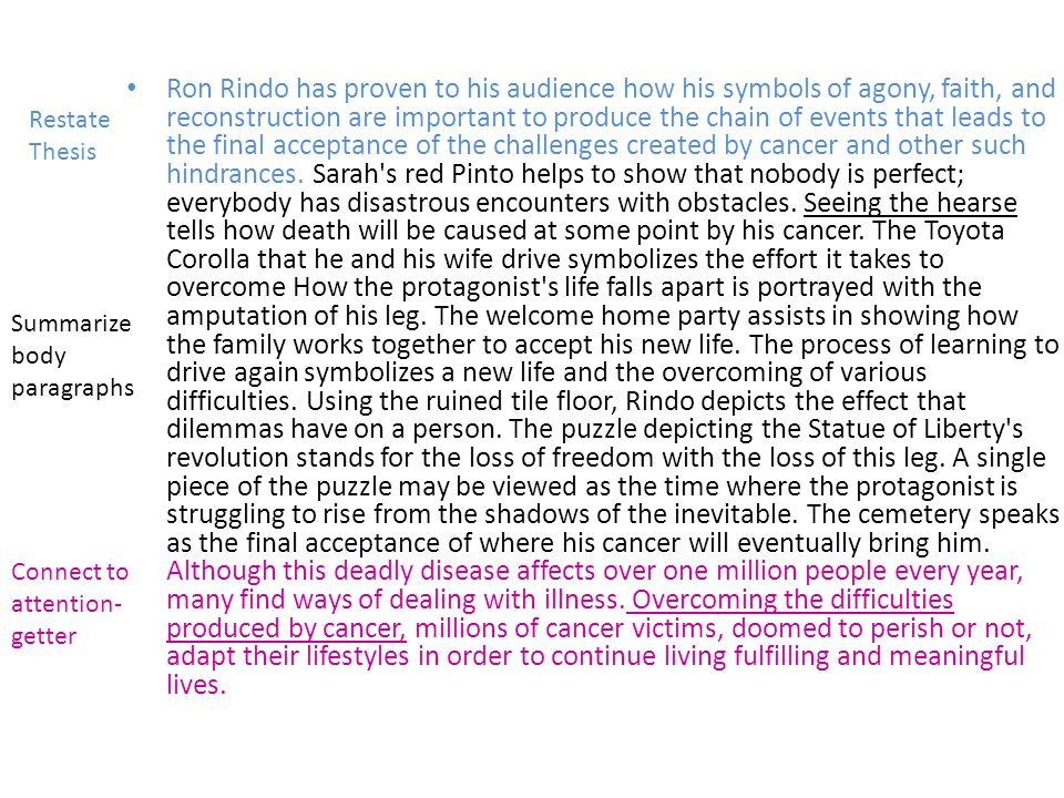 Ron Rindo has proven to his audience how his symbols of agony, faith, and reconstruction are important to produce the chain of events that leads to the final acceptance of the challenges created by cancer and other such hindrances.