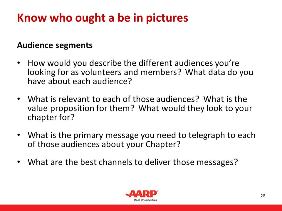 Audience segments How would you describe the different audiences you're looking for as volunteers and members.