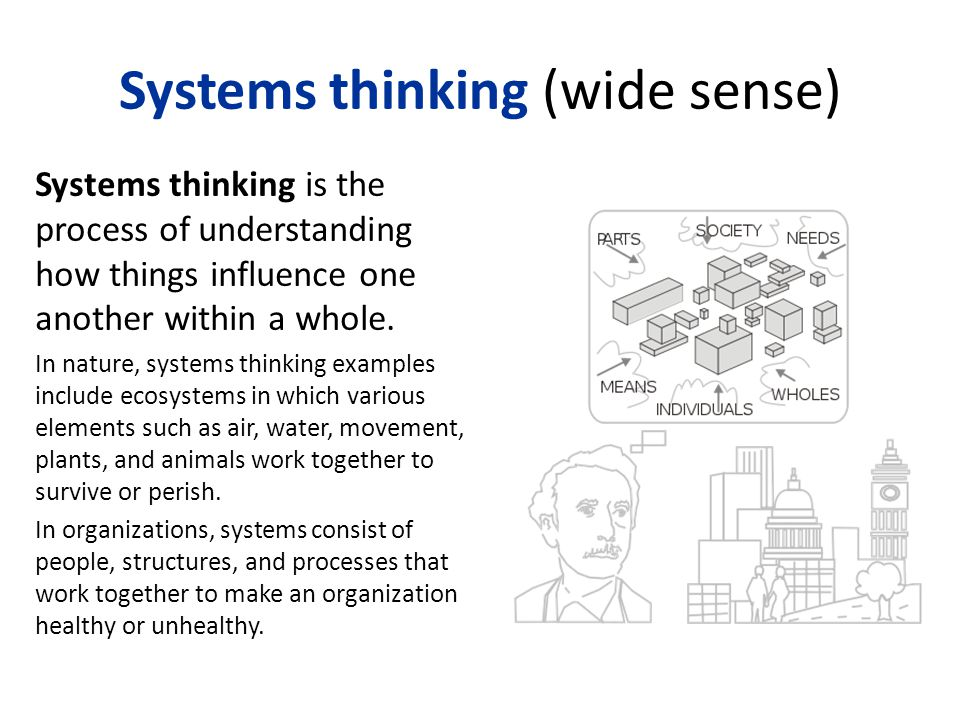 Systems thinking (wide sense) Systems thinking is the process of understanding how things influence one another within a whole.