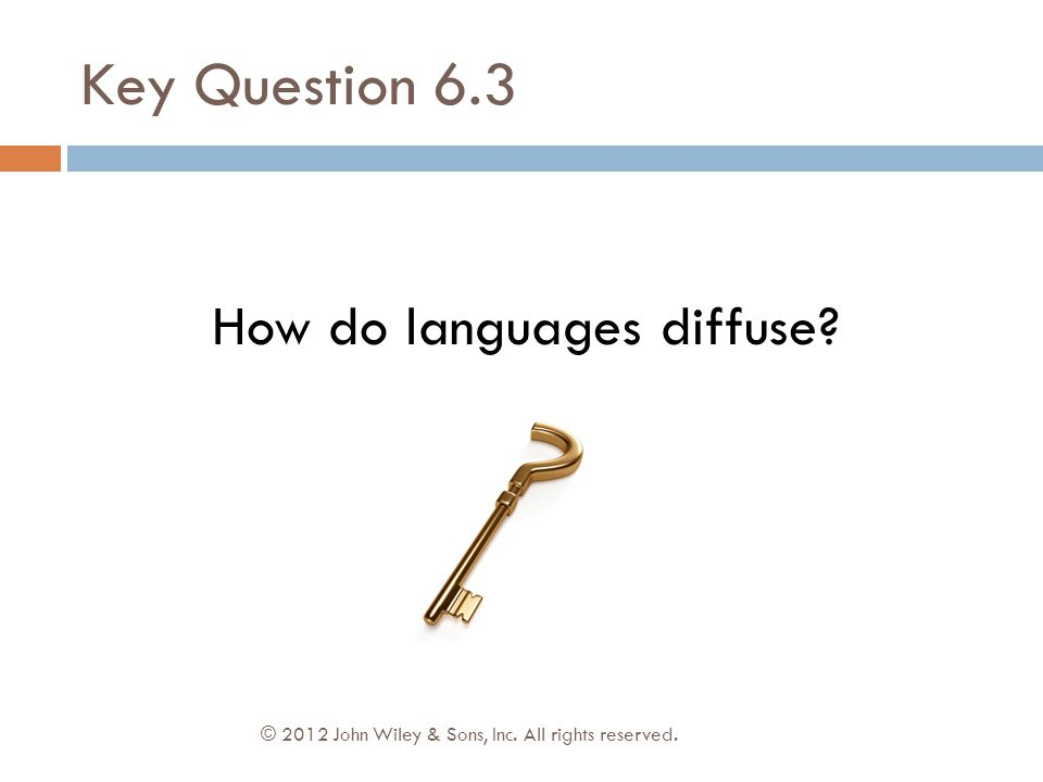 Key Question 6.3 © 2012 John Wiley & Sons, Inc. All rights reserved. How do languages diffuse?