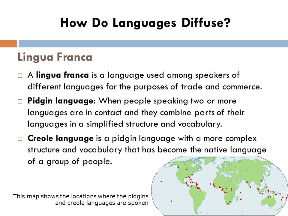 Lingua Franca  A lingua franca is a language used among speakers of different languages for the purposes of trade and commerce.