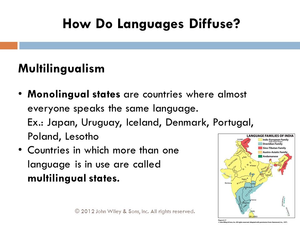 Multilingualism Monolingual states are countries where almost everyone speaks the same language. Ex.: Japan, Uruguay, Iceland, Denmark, Portugal, Pola