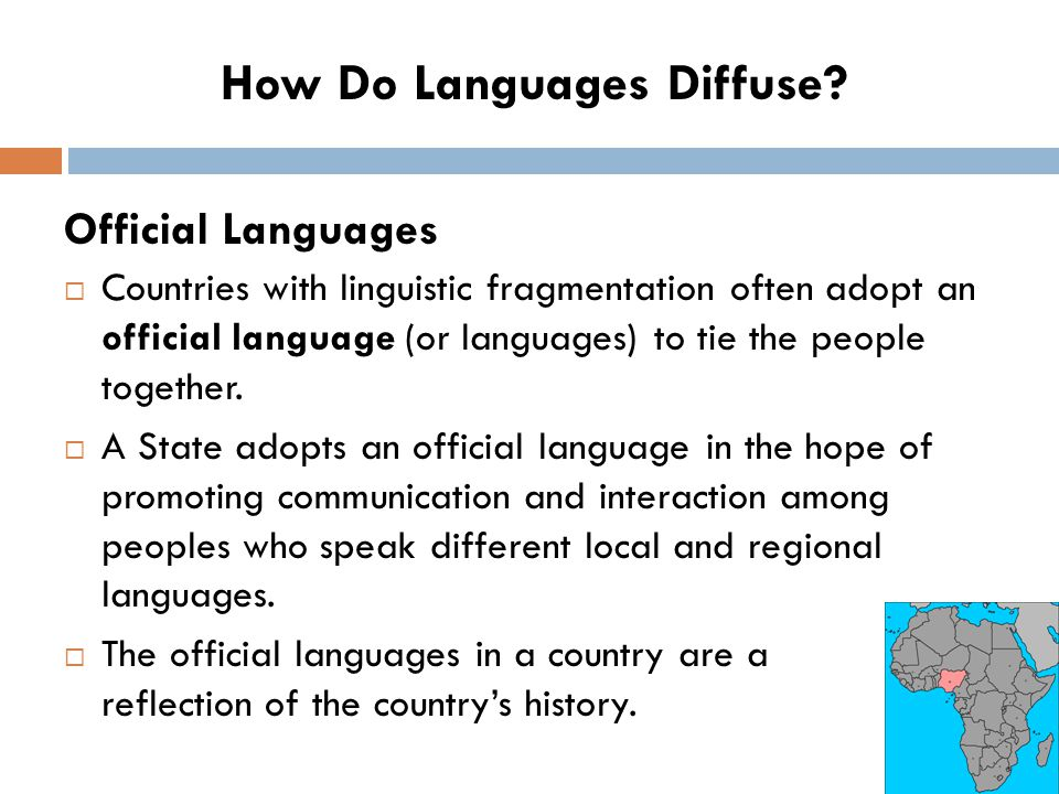  Countries with linguistic fragmentation often adopt an official language (or languages) to tie the people together.  A State adopts an official lan