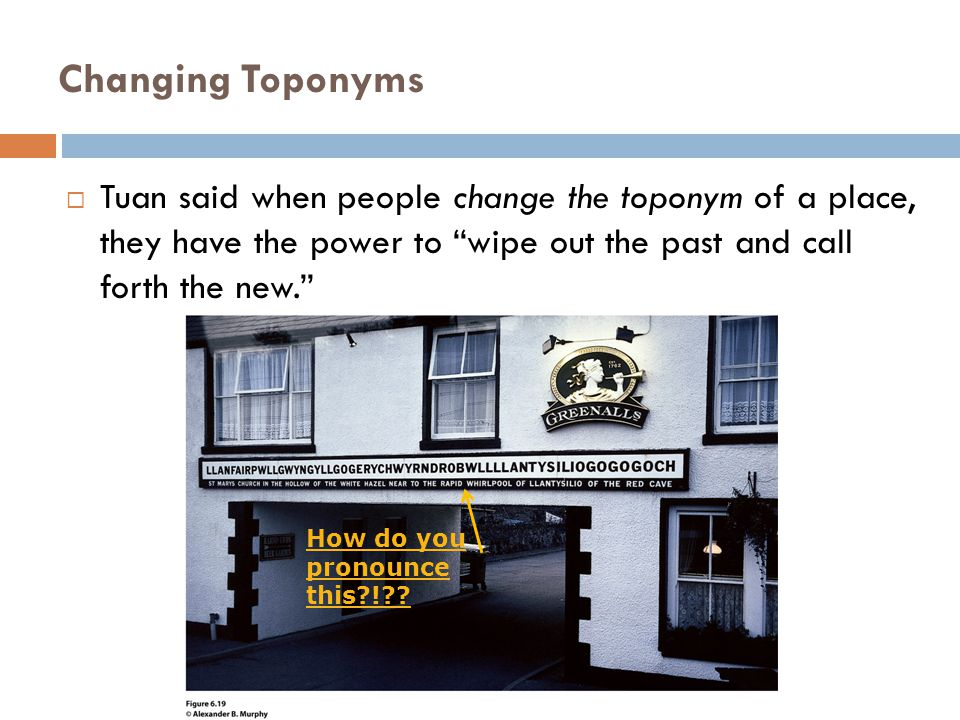 "Changing Toponyms  Tuan said when people change the toponym of a place, they have the power to ""wipe out the past and call forth the new."" How do you"