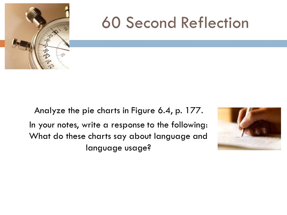 Analyze the pie charts in Figure 6.4, p. 177. In your notes, write a response to the following: What do these charts say about language and language u