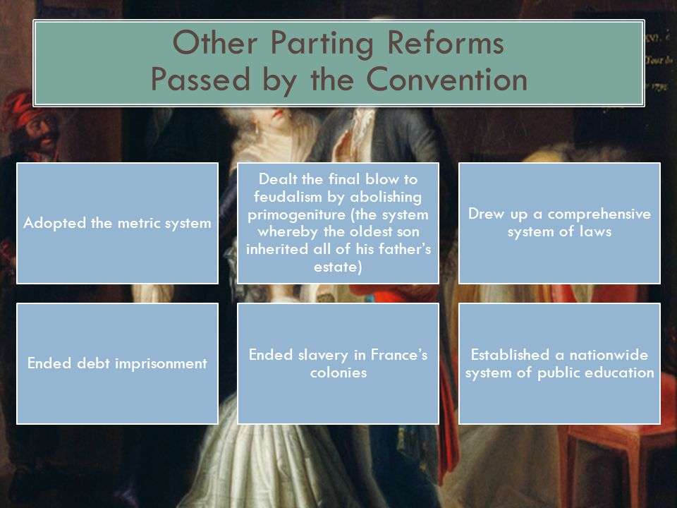Other Parting Reforms Passed by the Convention Adopted the metric system Dealt the final blow to feudalism by abolishing primogeniture (the system whe