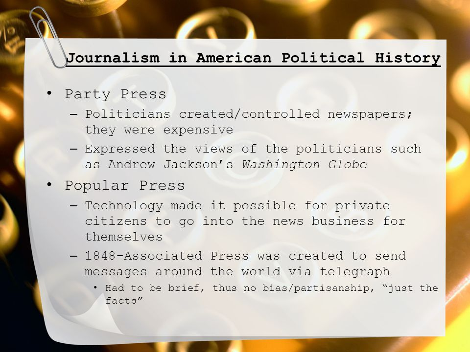 Interpreting Political News Media constantly attacks big business which is leading to distrust in businesses – Funny thing, media is big business so it is slowly coming around to bite them News wasn't always so sensationalized – FDR, JFK, and MLK all had affairs that the press knew about and didn't report, why.