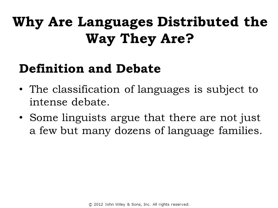 Definition and Debate The classification of languages is subject to intense debate. Some linguists argue that there are not just a few but many dozens