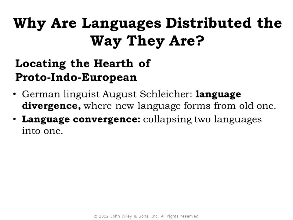 Locating the Hearth of Proto-Indo-European German linguist August Schleicher: language divergence, where new language forms from old one.