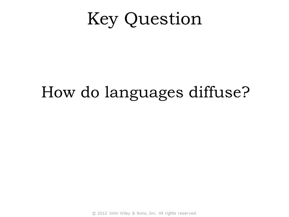 Key Question How do languages diffuse © 2012 John Wiley & Sons, Inc. All rights reserved.
