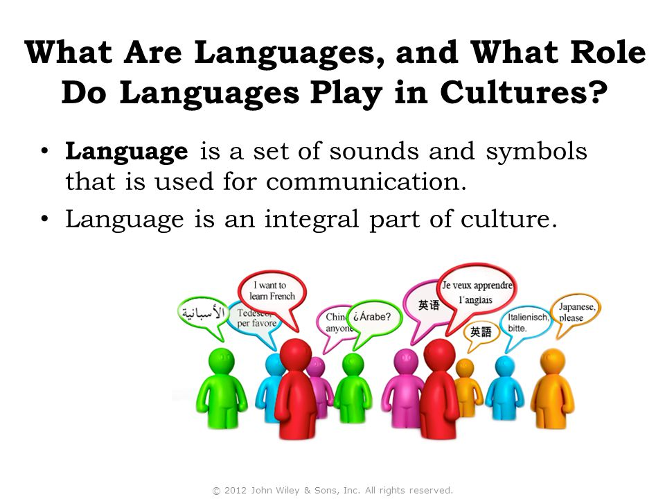 Language is a set of sounds and symbols that is used for communication. Language is an integral part of culture. © 2012 John Wiley & Sons, Inc. All ri
