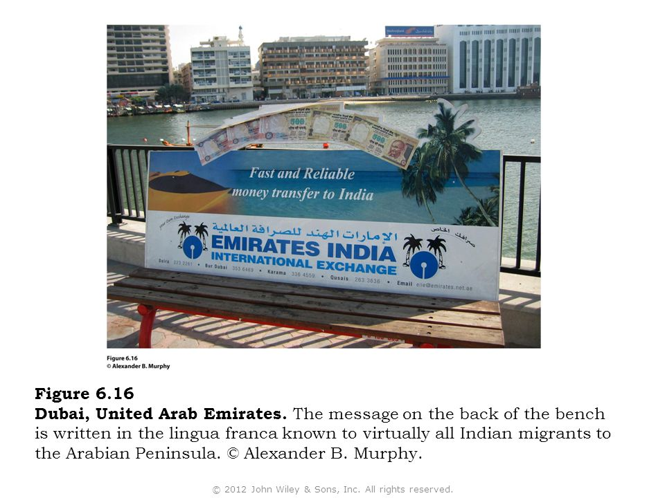 Figure 6.16 Dubai, United Arab Emirates. The message on the back of the bench is written in the lingua franca known to virtually all Indian migrants t