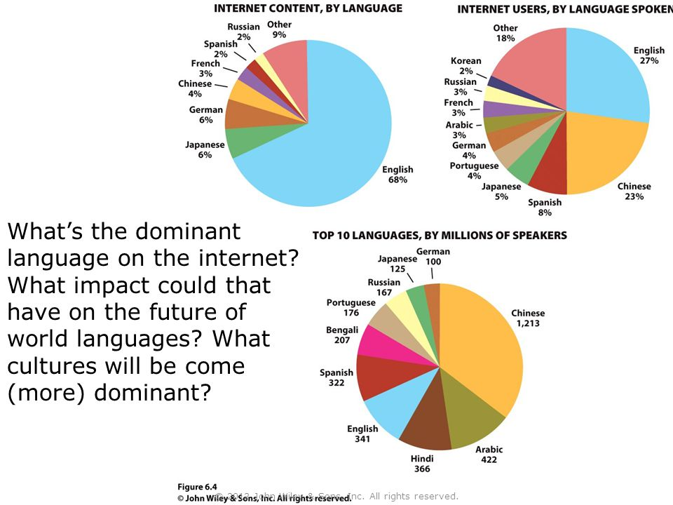 What's the dominant language on the internet? What impact could that have on the future of world languages? What cultures will be come (more) dominant