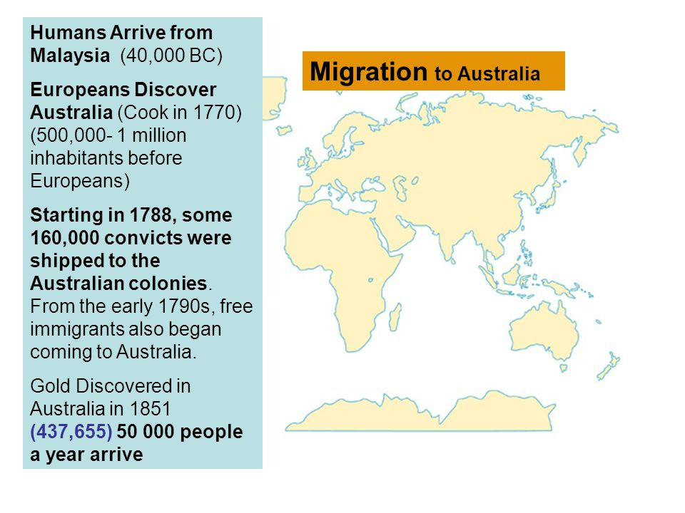 Humans Arrive from Malaysia (40,000 BC) Europeans Discover Australia (Cook in 1770) (500,000- 1 million inhabitants before Europeans) Starting in 1788, some 160,000 convicts were shipped to the Australian colonies.