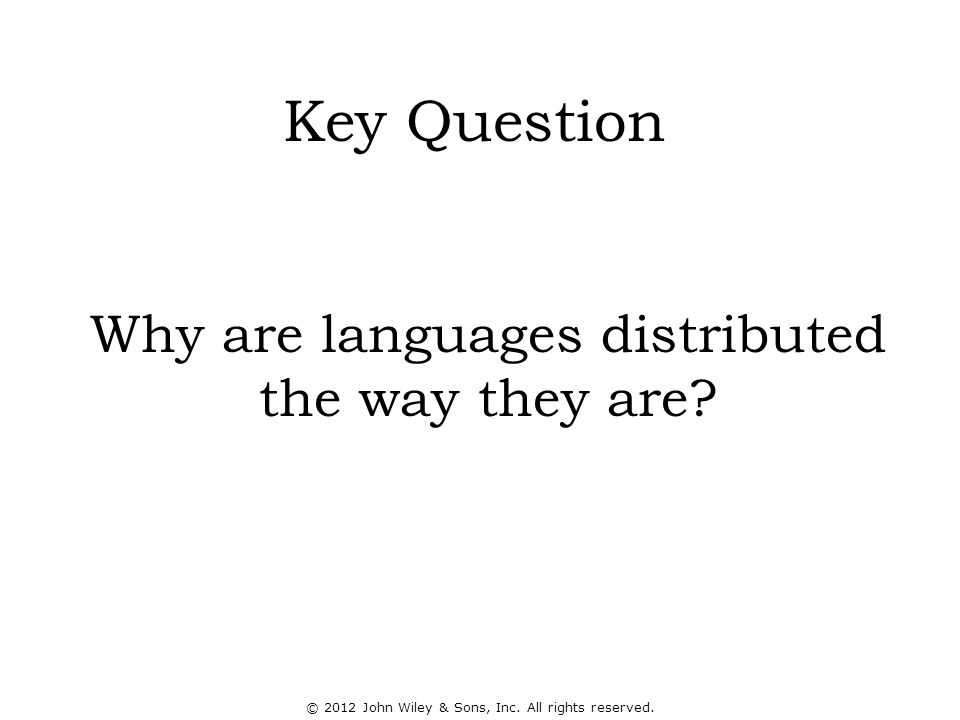 Why are languages distributed the way they are. Key Question © 2012 John Wiley & Sons, Inc.